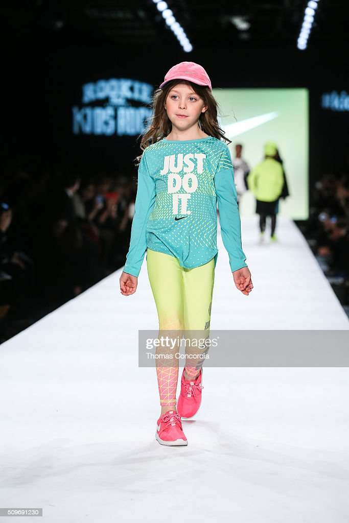 A model walks the runway during Rookie USA Presents Kids Rock! Fall 2016 at New York Fashion Week: The Shows at Skylight at Moynihan Station on February 11, 2016 in New York City.