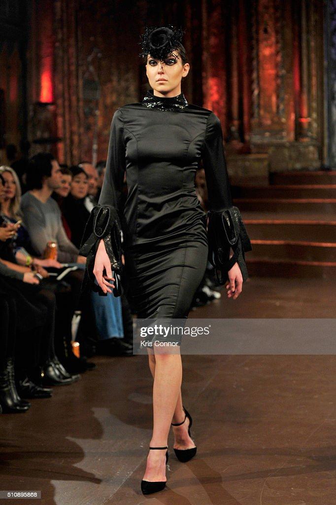 A model walks the runway during Serbia Fashion Week At Art Hearts Fashion Presents Marina Micanovic Art Hearts Fashion NYFW Fall/Winter 2016 at The...