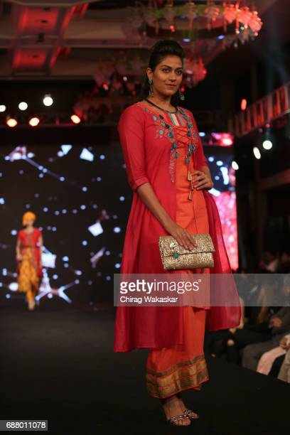 A model walks the runway during Shoppers Stop Designer of the Year awards 2017 held at Four Seaons on May 24 2017 in Mumbai India