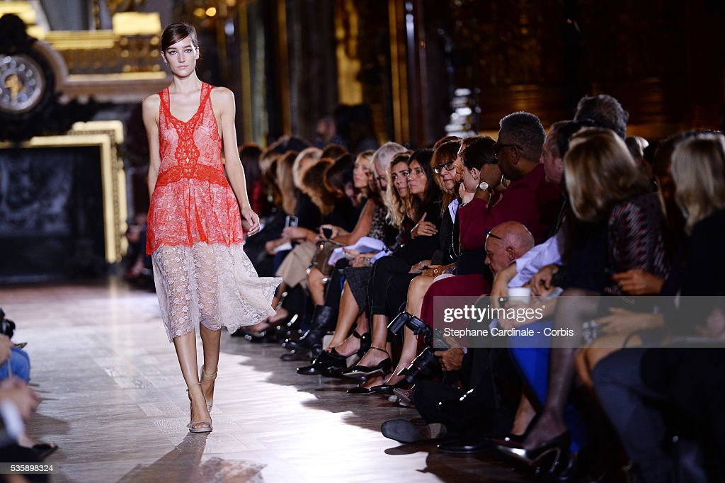 A model walks the runway during Stella McCartney show, as part of the Paris Fashion Week Womenswear Spring/Summer 2014, in Paris.