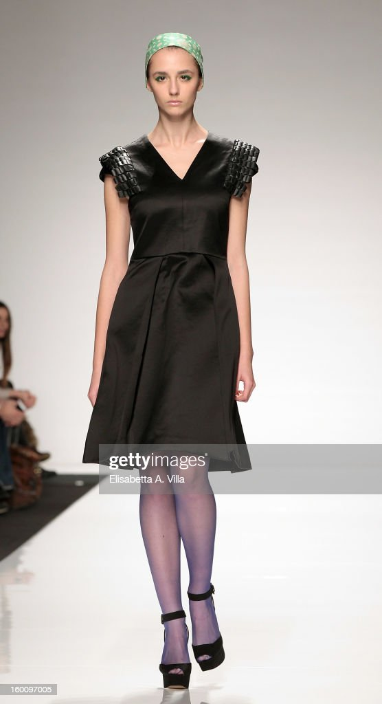 A model walks the runway during Suzanne Susceptible F/W 2013-14 preview colletion fashion show as part of AltaRoma AltaModa Fashion Week at Santo Spirito In Sassia on January 26, 2013 in Rome, Italy.