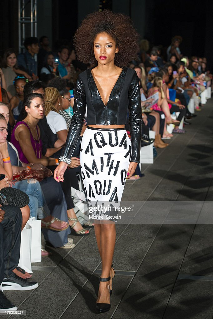 A model walks the runway during the 2013 Highline Back To School Teen Fashion Show at the Highline on August 29, 2013 in New York City.