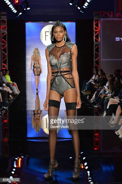 A model walks the runway during the 2016 Future of Fashion Runway Show at The Fashion Institute of Technology on May 5 2016 in New York City