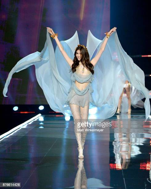 A model walks the runway during the 2017 Victoria's Secret Fashion Show In Shanghai at MercedesBenz Arena on November 20 2017 in Shanghai China