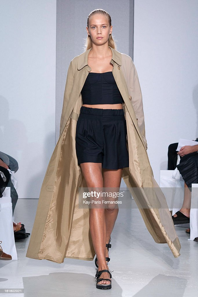 A model walks the runway during the 22/4 Hommes Femmes show as part of the Paris Fashion Week Womenswear Spring/Summer 2014 on September 25, 2013 in Paris, France.