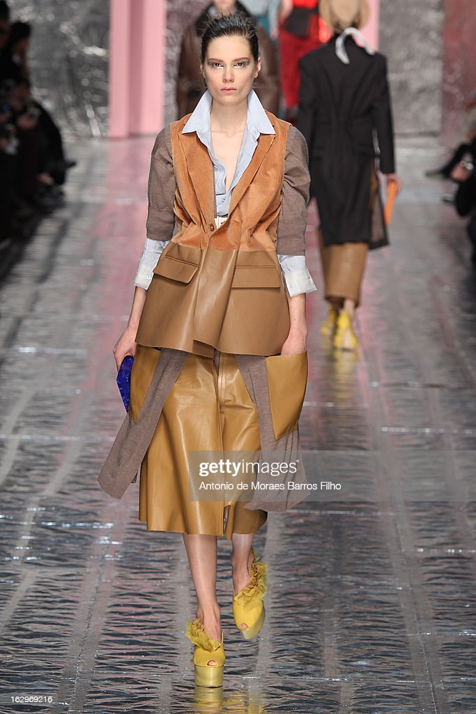 A model walks the runway during the Acne Studios Fall/Winter 2013 Ready-to-Wear show as part of Paris Fashion Week on March 2, 2013 in Paris, France.