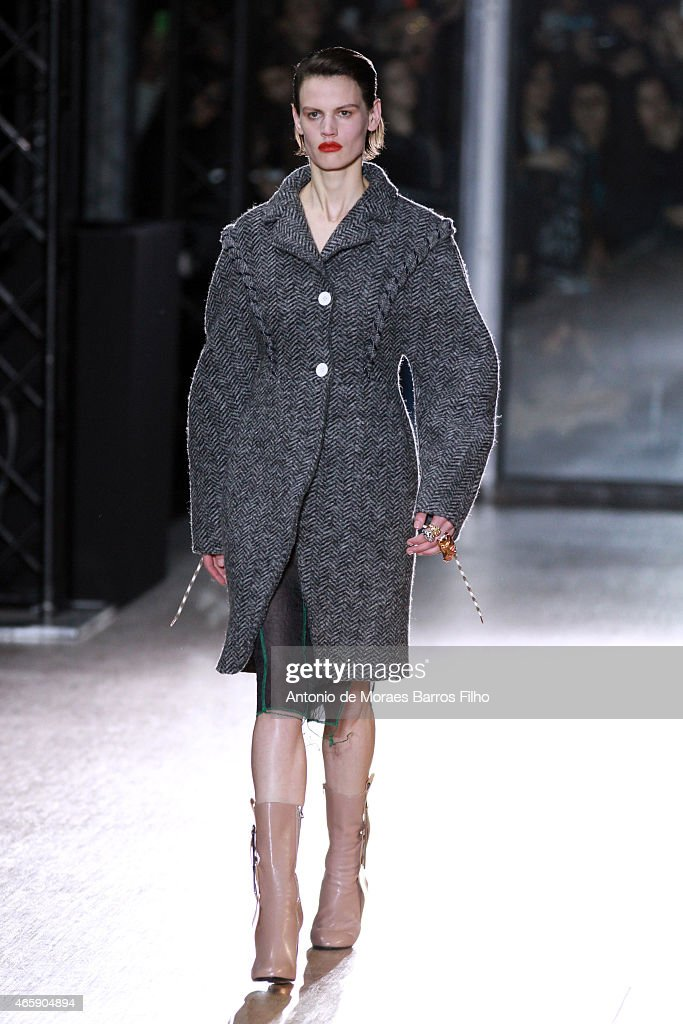 A model walks the runway during the Acne Studios show as part of the Paris Fashion Week Womenswear Fall/Winter 2015/2016 on March 7 2015 in Paris...