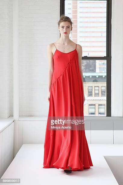 A model walks the runway during the Adeam presentation during New York Fashion Week September 2016 at Milk Studios on September 7 2016 in New York...
