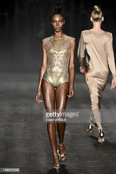 A model walks the runway during the Adriana Degreas show as part of the Sao Paulo Fashion Week Spring Summer 2013 on June 13 2012 in Sao Paulo Brazil