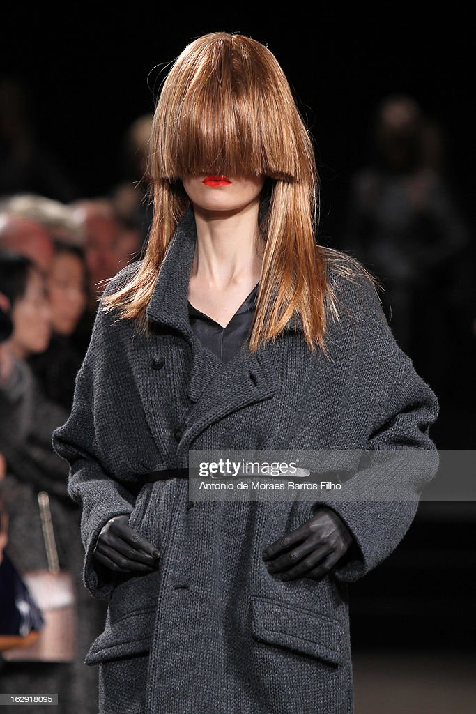 A model walks the runway during the AF Vandevorst Fall/Winter 2013 Ready-to-Wear show as part of Paris Fashion Week on March 1, 2013 in Paris, France.