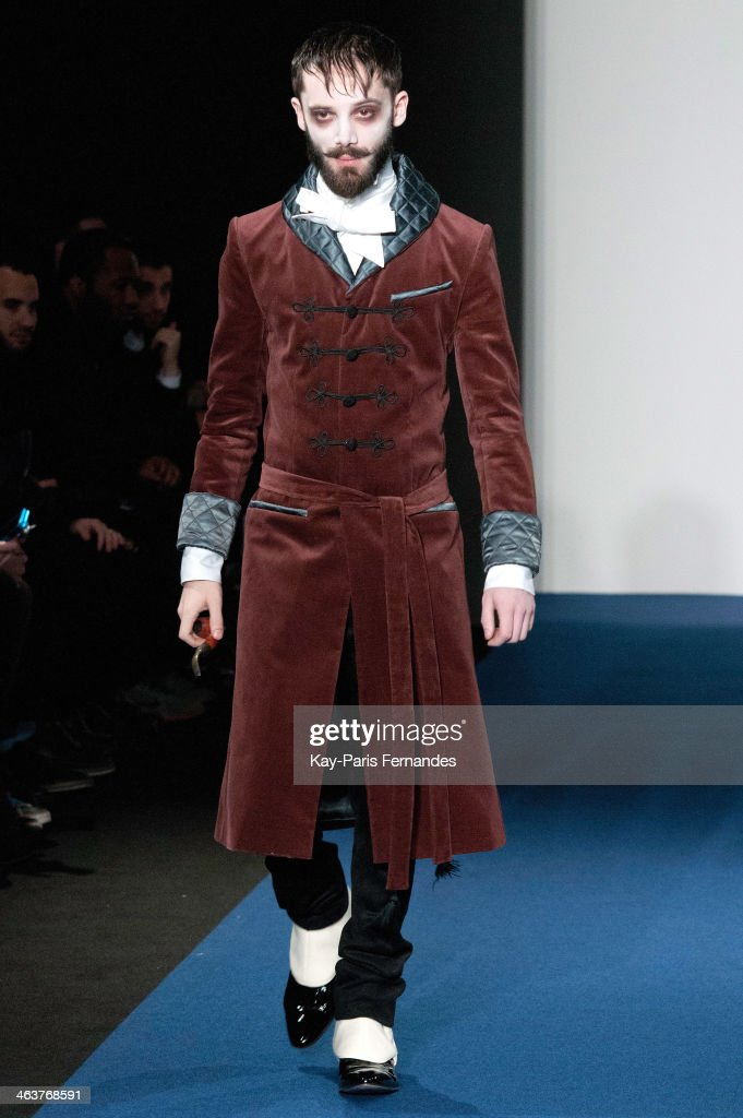 A model walks the runway during the Agnes B Menswear Fall/Winter 2014-2015 show as part of Paris Fashion Week on January 19, 2014 in Paris, France.