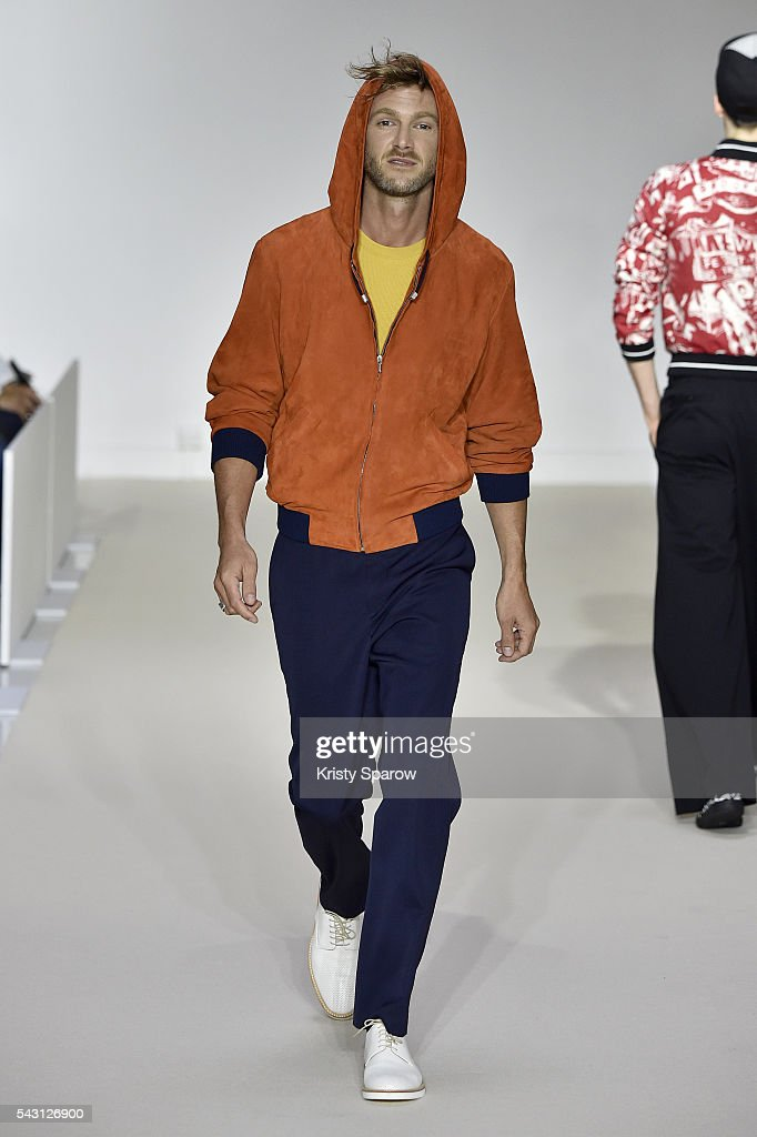 A model walks the runway during the Agnes B. Menswear Spring/Summer 2017 show as part of Paris Fashion Week on June 26, 2016 in Paris, France.