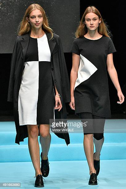 A model walks the runway during the Agnes B Ready to Wear show as part of the Paris Fashion Week Womenswear Spring/Summer 2016 at Palais de Tokyo on...