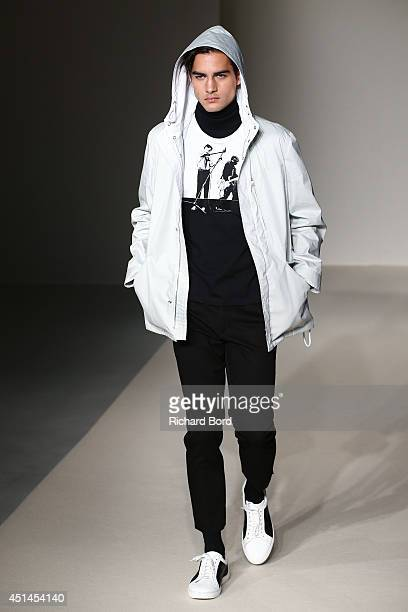 A model walks the runway during the Agnes B show as part of the Paris Fashion Week Menswear Spring/Summer 2015 on June 29 2014 in Paris France