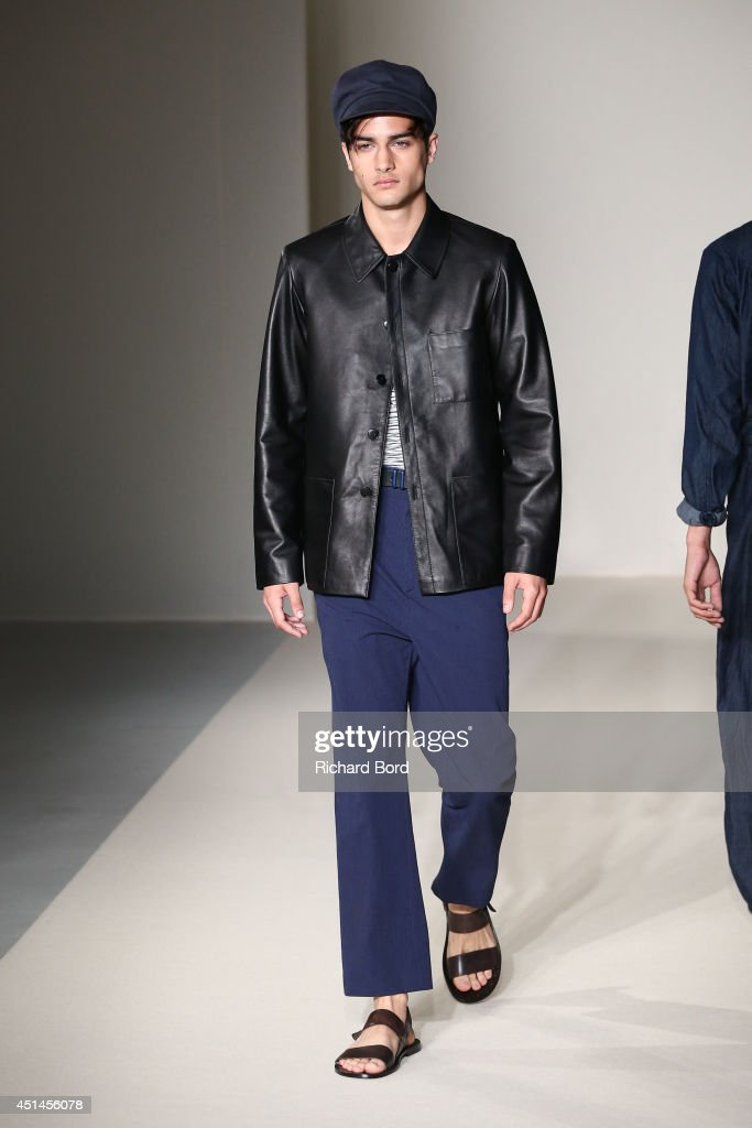 A model walks the runway during the Agnes B show as part of the Paris Fashion Week Menswear Spring/Summer 2015 on June 29, 2014 in Paris, France.