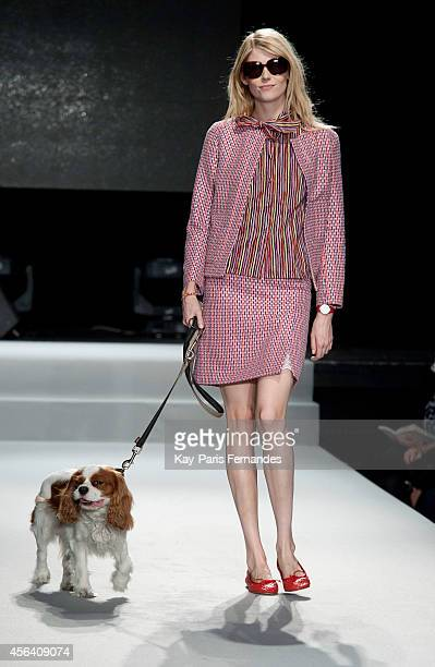 A model walks the runway during the Agnes B show as part of the Paris Fashion Week Womenswear Spring/Summer 2015 on September 30 2014 in Paris France
