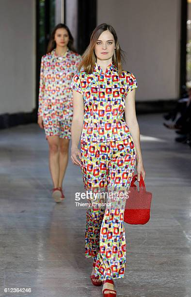 A model walks the runway during the Agnes B show as part of the Paris Fashion Week Womenswear Spring/Summer 2017 on October 4 2016 in Paris France