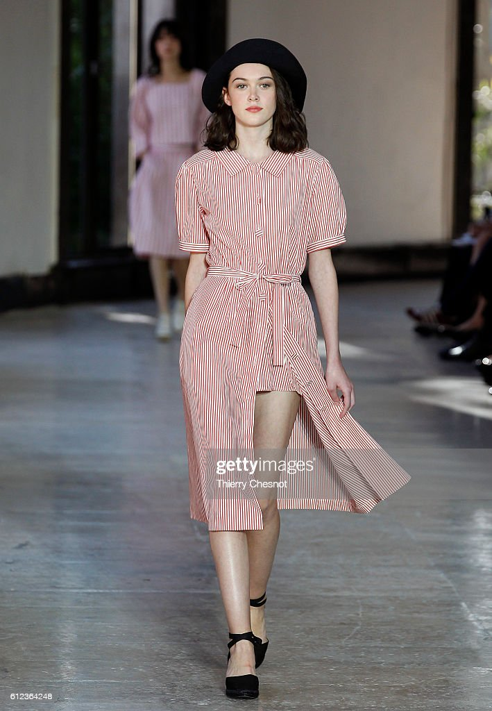 model-walks-the-runway-during-the-agnes-b-show-as-part-of-the-paris-picture-id612364248