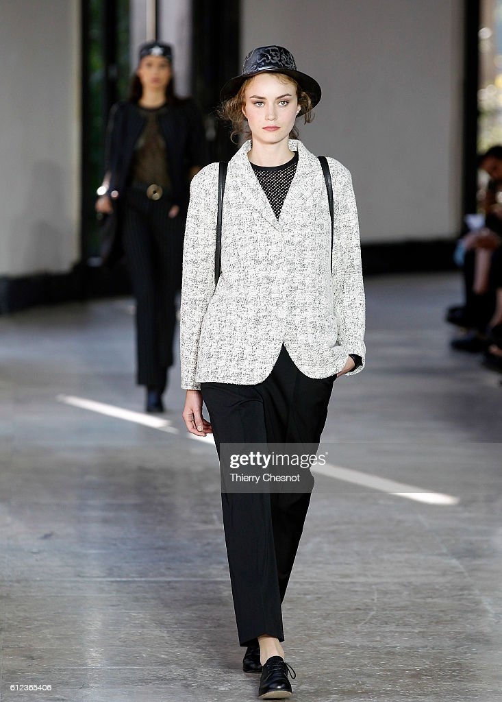 model-walks-the-runway-during-the-agnes-b-show-as-part-of-the-paris-picture-id612365406