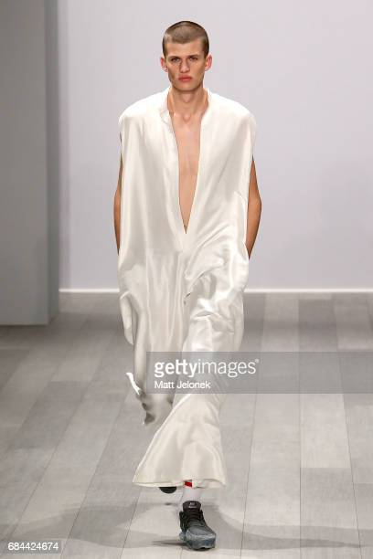 A model walks the runway during the Akira show at MercedesBenz Fashion Week Resort 18 Collections at Carriageworks on May 18 2017 in Sydney Australia