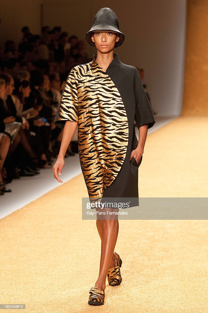 A model walks the runway during the Akris show as part of the Paris Fashion Week Womenswear Spring/Summer 2014 at the Grand Palais on September 29...