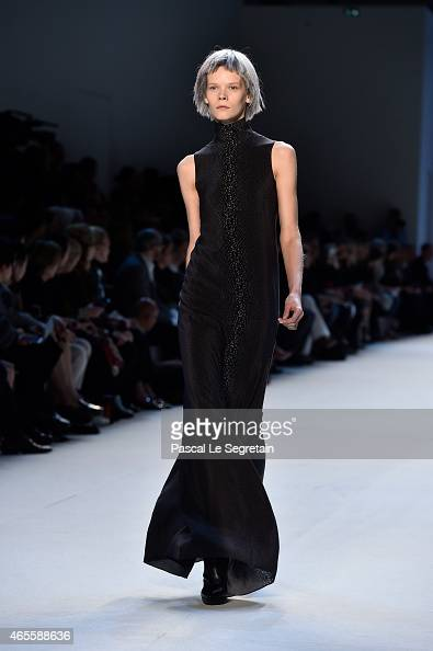 A model walks the runway during the Akris show as part of the Paris Fashion Week Womenswear Fall/Winter 2015/2016 on March 8 2015 in Paris France