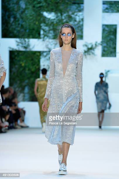 A model walks the runway during the Akris show as part of the Paris Fashion Week Womenswear Spring/Summer 2016 on October 4 2015 in Paris France