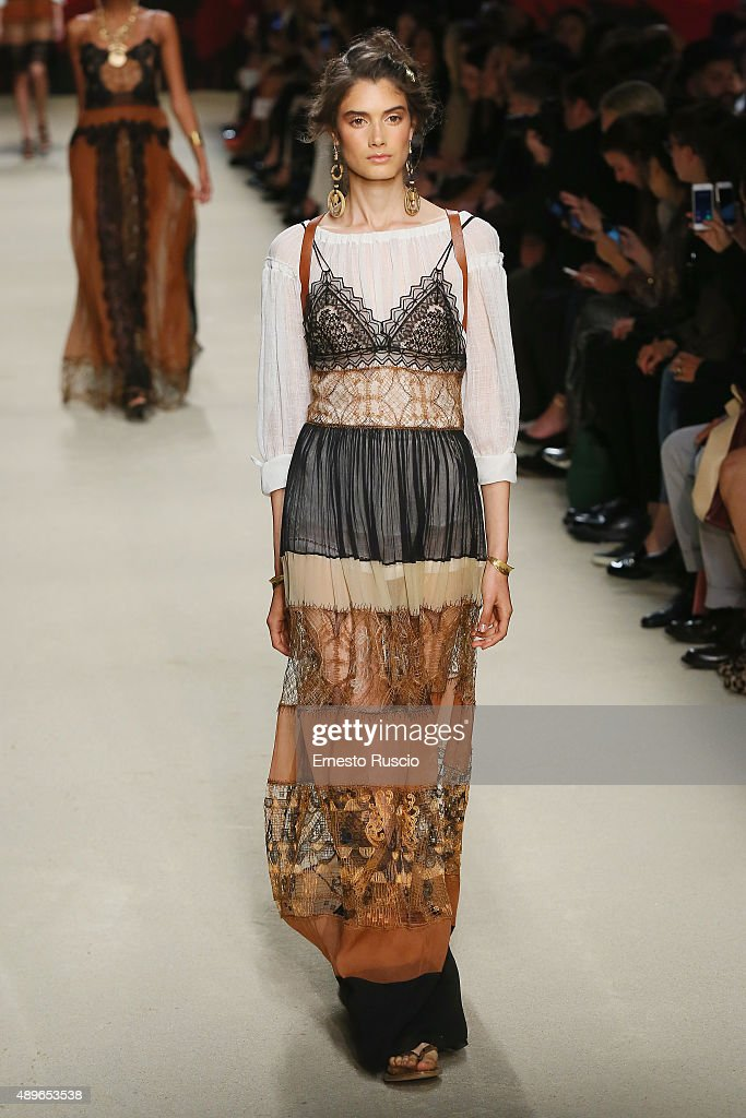 A model walks the runway during the Alberta Ferretti fashion show as part of Milan Fashion Week Spring/Summer 2016 on September 23 2015 in Milan Italy