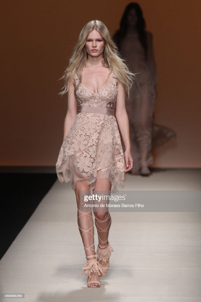 A model walks the runway during the Alberta Ferretti show as a part of Milan Fashion Week Womenswear Spring/Summer 2015 on September 17 2014 in Milan...