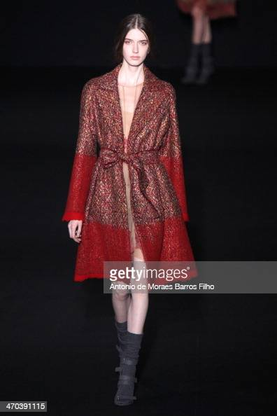 A model walks the runway during the Alberta Ferretti show as a part of Milan Fashion Week Womenswear Autumn/Winter 2014 on February 19 2014 in Milan...