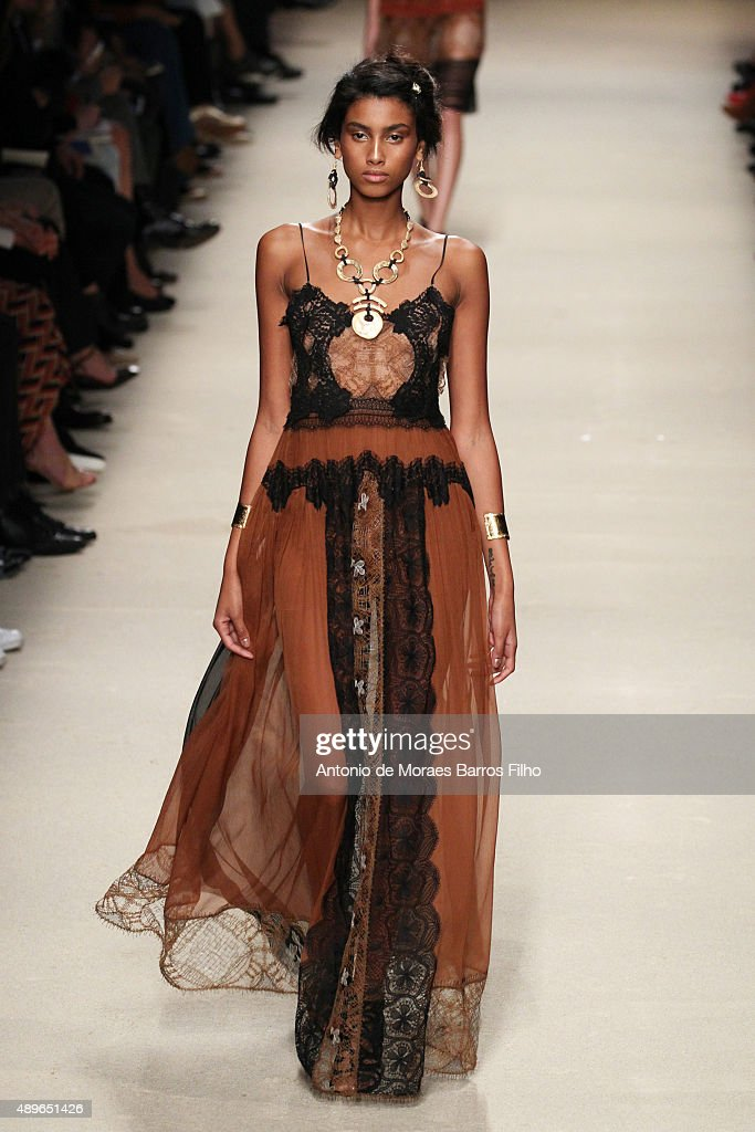 A model walks the runway during the Alberta Ferretti show as a part of Milan Fashion Week Spring/Summer 2016 on September 23 2015 in Milan Italy
