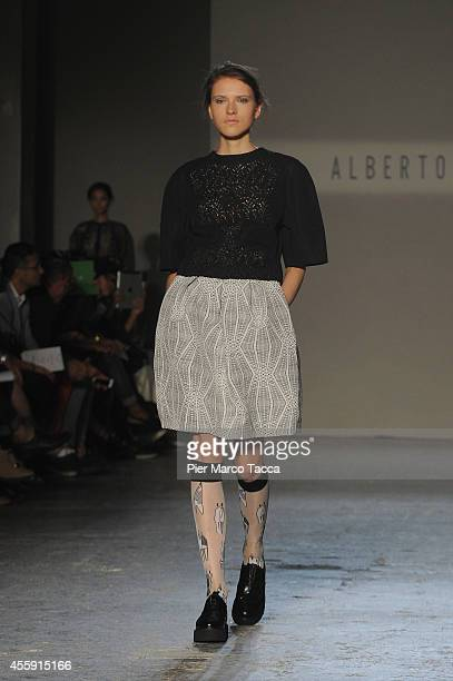 A model walks the runway during the Alberto Zambelli show as a part of Milan Fashion Week Womenswear Spring/Summer 2015 on September 22 2014 in Milan...