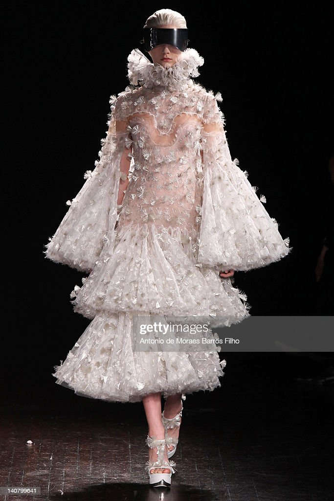 A model walks the runway during the Alexander McQueen Ready-To-Wear Fall/Winter 2012 show as part of Paris Fashion Week on March 6, 2012 in Paris, France.