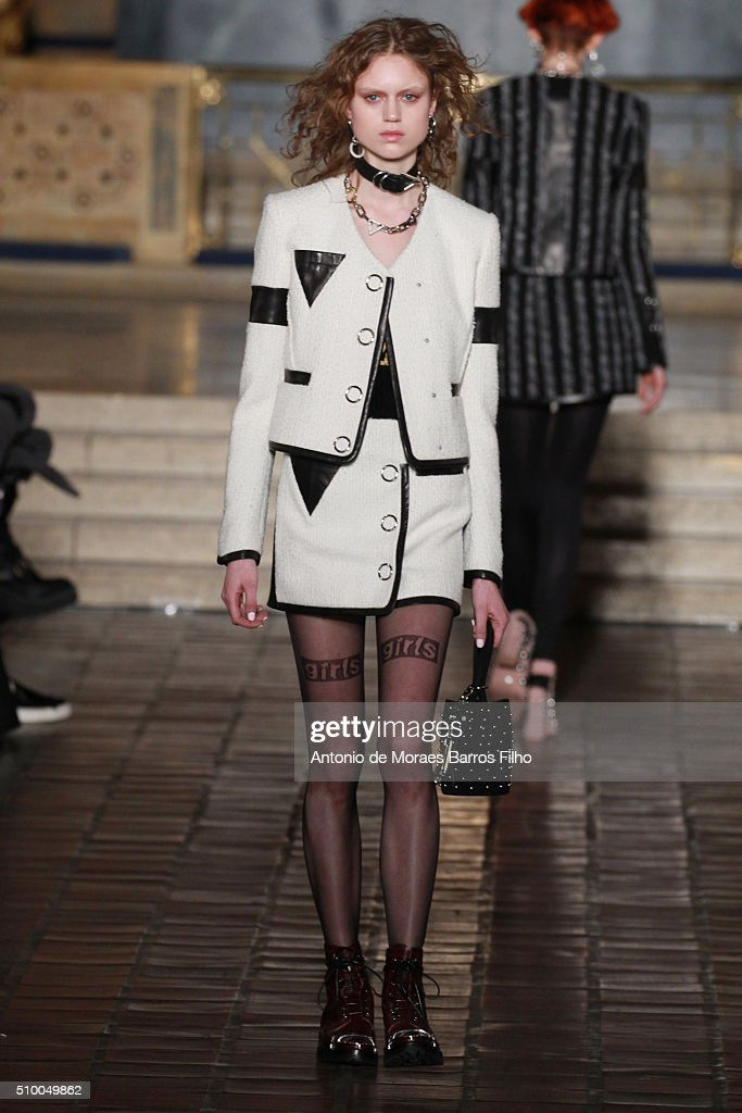 A model walks the runway during the Alexander Wang show as a part of Fall 2016 New York Fashion Week at St. Bartholomew's Church on February 13, 2016 in New York City.