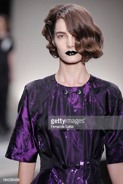 A model walks the runway during the Alexandre Herchcovitch show during Sao Paulo Fashion Week Summer 2013/2014 on March 21 2013 in Sao Paulo Brazil