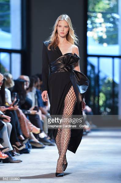 A model walks the runway during the Alexandre Vauthier Prive Haute Couture Fall/Winter 20162017 show as part of Paris Fashion Week on July 5 2016 in...