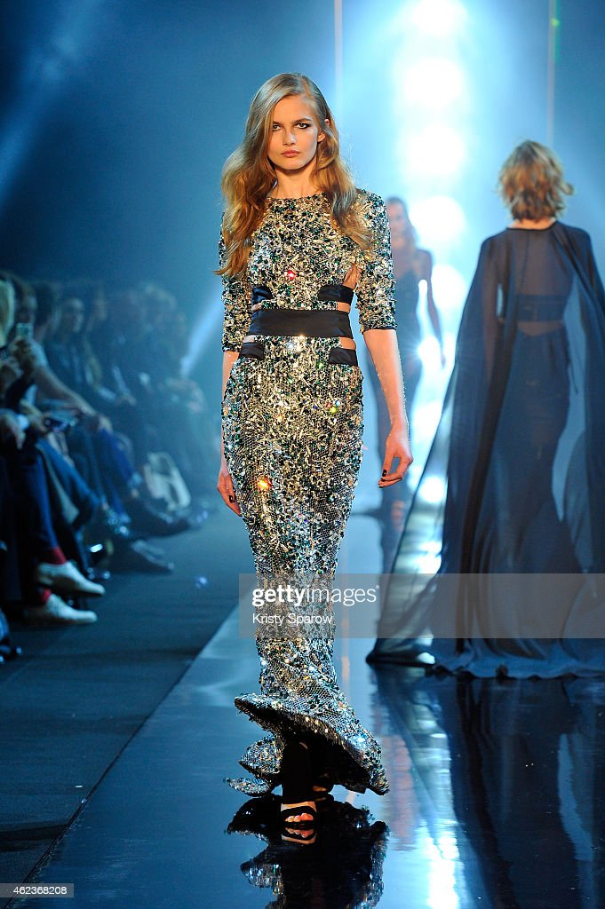 A model walks the runway during the Alexandre Vauthier show as part of Paris Fashion Week Haute Couture Spring/Summer 2015 on January 27 2015 in...