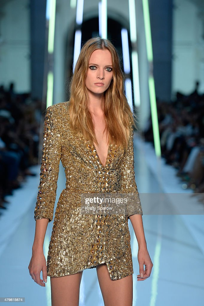 A model walks the runway during the Alexandre Vauthier show as part of Paris Fashion Week Haute Couture Fall/Winter 2015/2016 on July 7 2015 in Paris...