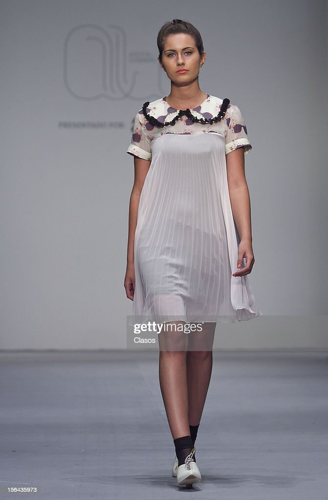 A model walks the runway during the Alexia Ulibarri Spring/Summer 2013 collection at Carpa Santa Fe on November 14, 2012 in Mexico City, Mexico.
