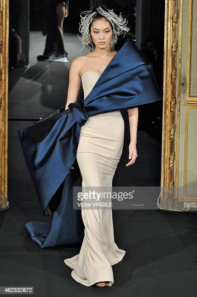 A model walks the runway during the Alexis Mabille show as part of Paris Fashion Week Haute Couture Spring/Summer 2015 on January 26 2015 in Paris...