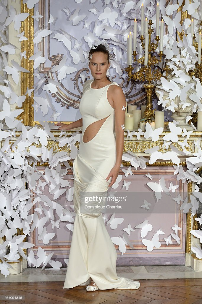 A model walks the runway during the Alexis Mabille show as part of Paris Fashion Week Haute Couture Spring/Summer 2014 on January 20, 2014 in Paris, France.
