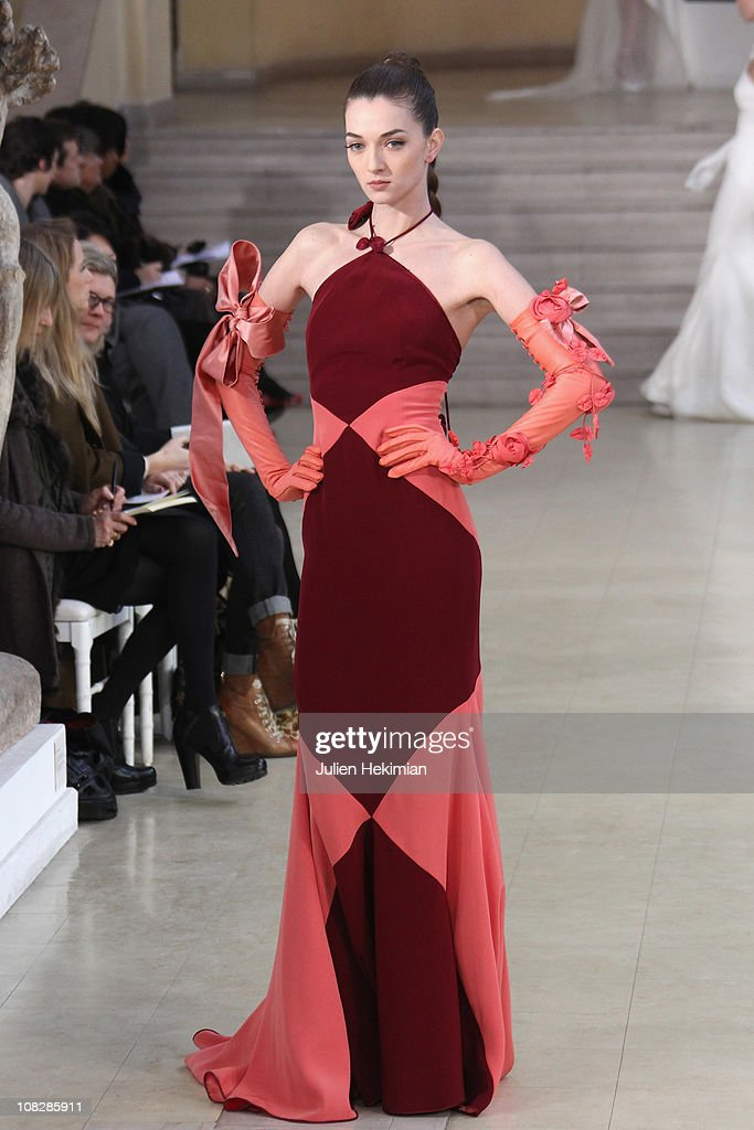 A model walks the runway during the Alexis Mabille show as part of the Paris Haute Couture Fashion Week Spring/Summer 2011 at Musee Bourdelle on...