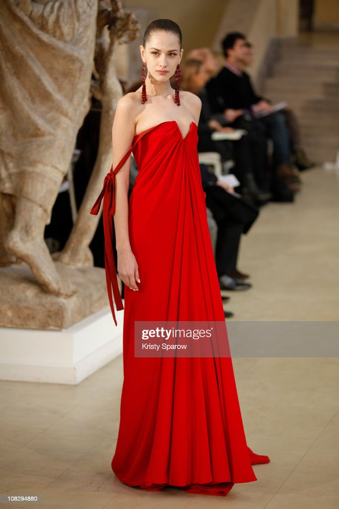 A model walks the runway during the Alexis Mabille show as part of the Paris Haute Couture Fashion Week Fall/Winter 2011 at Musee Bourdelle on...