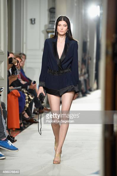 A model walks the runway during the Alexis Mabille show as part of the Paris Fashion Week Womenswear Spring/Summer 2015 on September 24 2014 in Paris...