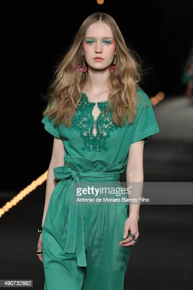 A model walks the runway during the Alexis Mabille show as part of the Paris Fashion Week Womenswear Spring/Summer 2016 on September 30 2015 in Paris...