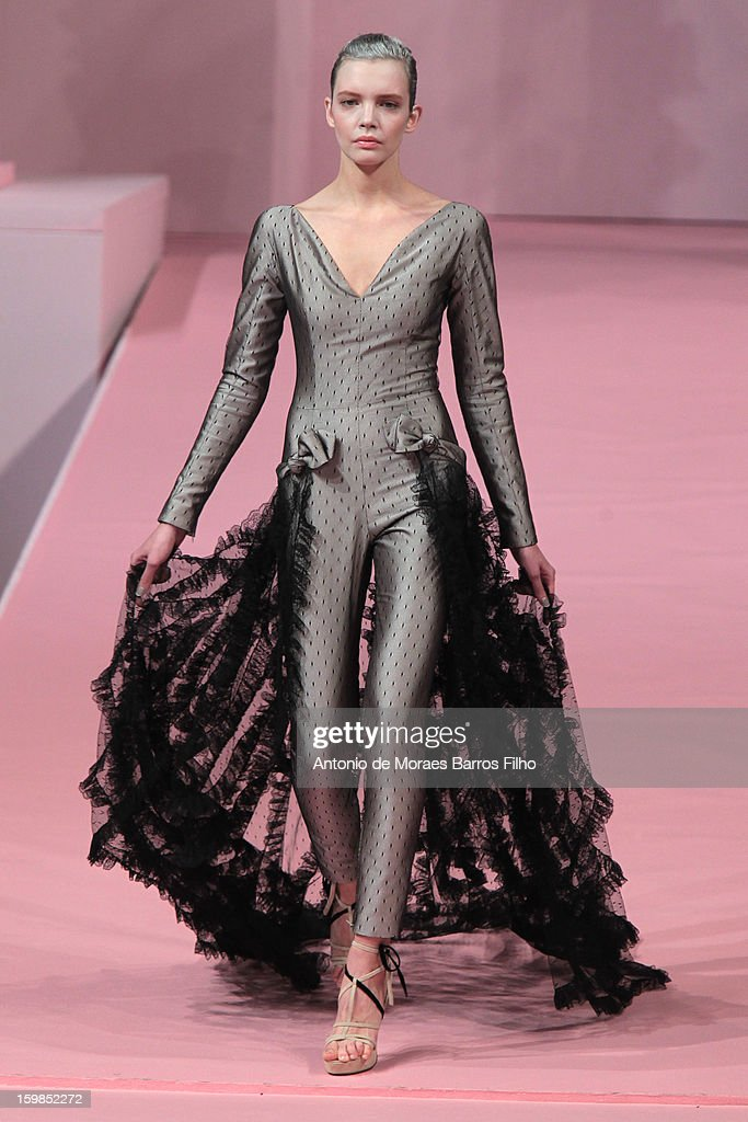 A model walks the runway during the Alexis Mabille Spring/Summer 2013 Haute-Couture show as part of Paris Fashion Week at Mairie du 4e on January 21, 2013 in Paris, France.