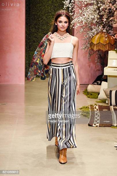 A model walks the runway during the alice olivia by Stacey Bendet Los Angeles Runway Show at NeueHouse Los Angeles on April 13 2016 in Hollywood...