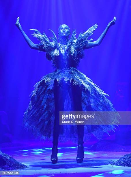 A model walks the runway during the Amato show at Fashion Forward October 2017 held at the Dubai Design District on October 28 2017 in Dubai United...