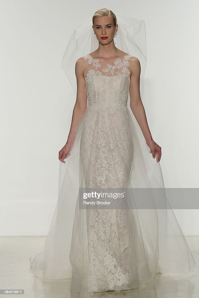 A model walks the runway during the Amsale Spring 2015 Bridal collection show at EZ Studios on April 12, 2014 in New York City.