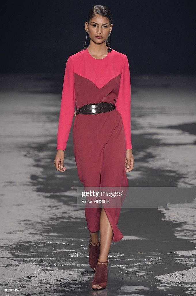 A model walks the runway during the Andrea Marques show as part of the Rio de Janeiro Fashion Week Fall/Winter 2014 on November 9, 2013 in Rio de Janeiro, Brazil.